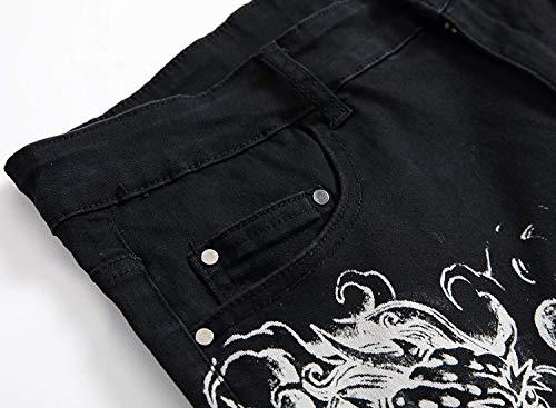 Di Nero Casual A Giovane Slim Da Bassa Sottile Uomo Tratto Pantaloni Vita Vintage Con Stampa Moda 7FYaa