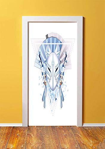 (Kabuki Mask Decoration 3D Door Sticker Wall Decals Mural Wallpaper,Fox Mask Kitsune Japan Culture Triangle Sakura Flowers Decorative,DIY Art Home Decor Poster Decoration 30.3x78.14284,Light Blue White)