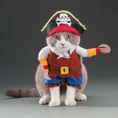 CUTESUN Dog Cat Doctor Costume Pet Cowboy Clothing Halloween Pirate Outfit Apparel (M, D ()
