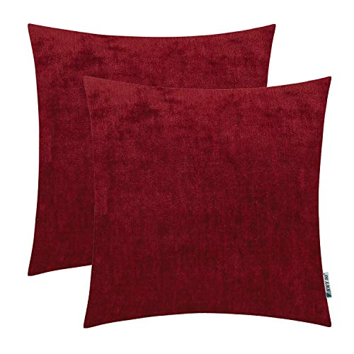 HWY 50 Cashmere Soft Decorative Throw Pillows Covers Set Cushion Cases for Couch Bed Living Room Burgundy Wine Red Comfortable 18x18 inch Pack of 2