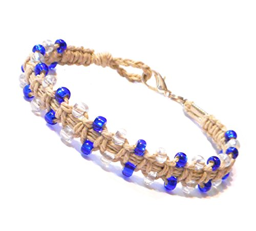 Beautiful Blue Glass Beaded Hemp Bracelet or Hemp Anklet to Choose From – Handmade (Anklet 9.5 inches)
