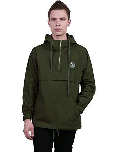 Zip Windbreaker (Allegra K Men Windbreaker Lightweight Half Zip Hoodie Anorak Pullover Jacket Large Army Green)