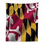 Lunarable American Tapestry, Flag of The US State of Maryland Closeup 3D Style Picture Waving America National, Fabric Wall Hanging Decor for Bedroom Living Room Dorm, 23 W X 28 L inches, Multicolor