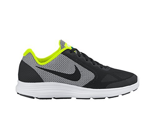 Boy's Nike Revolution 3 (GS) Running Shoe Black/White/Volt Size 5 M (Toddler Black Nubuck Footwear)