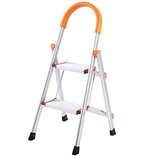 2 Step Non-Slip Aluminum Folding Ladder Stand Pontoon Platform Stool 330 lbs Load Capacity