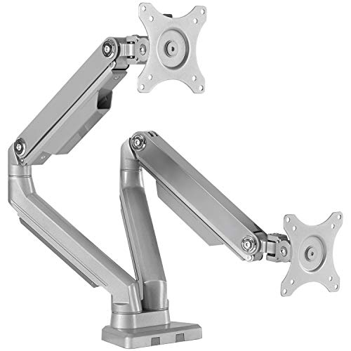 EleTab Dual Arm Monitor Stand - Height Adjustable VESA Mount Fits for 2 Computer Screens 17