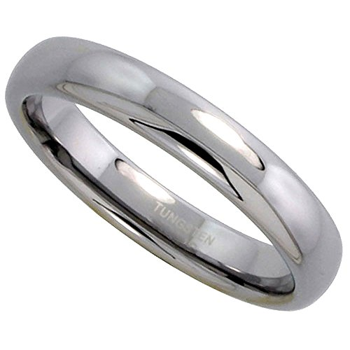 Tungsten Carbide 4 mm Plain Domed Wedding Band Thumb Ring for Men and Women Polished, size 10.5