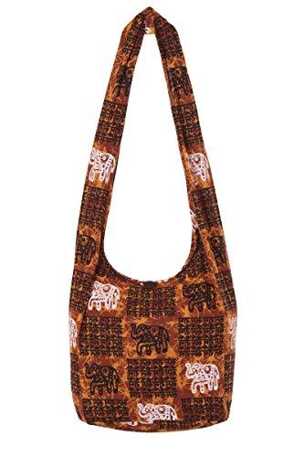 hippy de nbsp;100 hombro Thai nbsp;– mano 2 Boho de bolsa nbsp;– Indic viaje de algodón Gypsy nbsp;playa diseño Brown bolso bolsa Sling elefante qU0ExUn