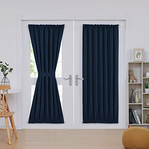 Deconovo Navy Blackout Drapes Door Curtains Rod Pocket Door Panel Thermal Insulated Curtains for Door 54x72 Inch Navy Blue 2 Panels
