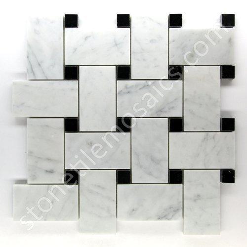 Carrara Marble Italian bianca Bianco Carrera Large Dimensione Big Basketweave Mosaic Tile with Nero nero Dots Honed by Carrara Marble Italian bianca Basketweave Mosaic