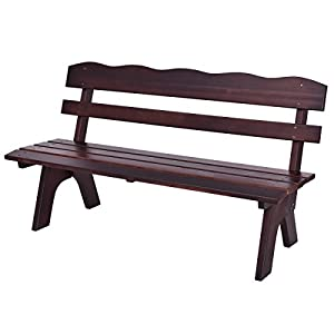 Giantex Wooden Garden Bench Chair Wood Frame Outdoor Yard Deck Furniture 5 Ft 3 Seats (Brown)