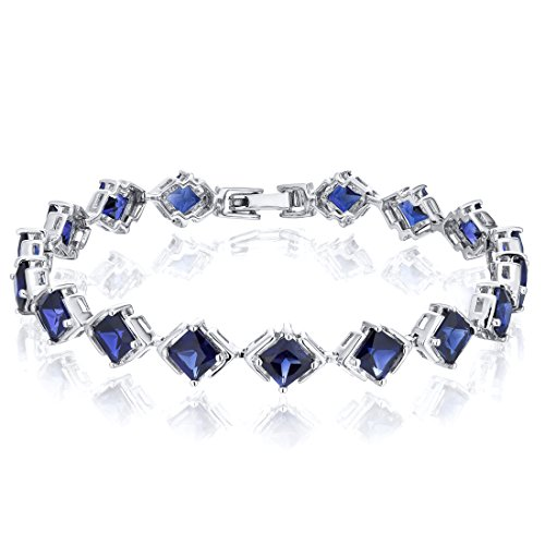 Princess Cut Created Sapphire Bracelet in Sterling Silver Rhodium Nickel Finish 12 Carats Total Weight