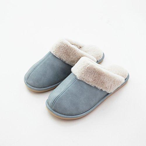 Coppie fankou PU cotone pantofole donna autunno e inverno piscina home anti-skid peluche di pelle inferiore spesso uomini caldi fondo morbido silenzioso, 255mm (37-38 metri), NX-7005 blu