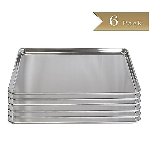 Set of 6 - TrueCraftware 18 Gauge Aluminium Commercial Baker's 2/3 Size Sheets / Baking Trays / Pan / 15 x - 2/3 Baking Pan