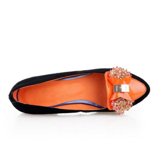 AmoonyFashion Womens Closed Pointed Toe Kitten Heel Micro Fiber Frosted Solid Pumps with Bowknot and Metal Orange kPdDW5u4HR