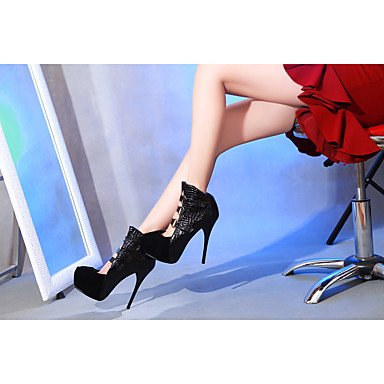 Talones de las mujeres Primavera Verano Otoño Invierno Otro de cuero oficina y carrera del partido y vestido de noche del tacón de aguja hebilla Negro Azul Rojo Beige Red