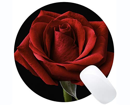- Rectangle Round Mouse Pad, Red Rose Rose Flower -Stitched Edges