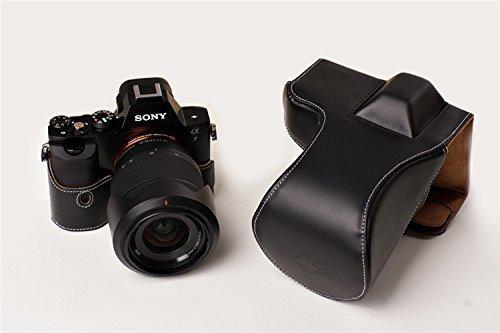 ソニー α7R用本革レンズカバー付カメラケース(28-70mm用) ブラック B07T12VR94 レンズカバー付ケース&ストラップTP1881 FreeSize