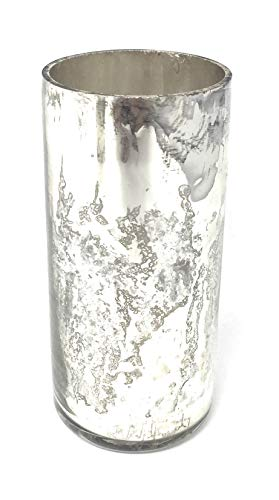 Serene Spaces Living Antique Silver Cylinder Vase, Handmade Mercury Glass Finish, Measures 4