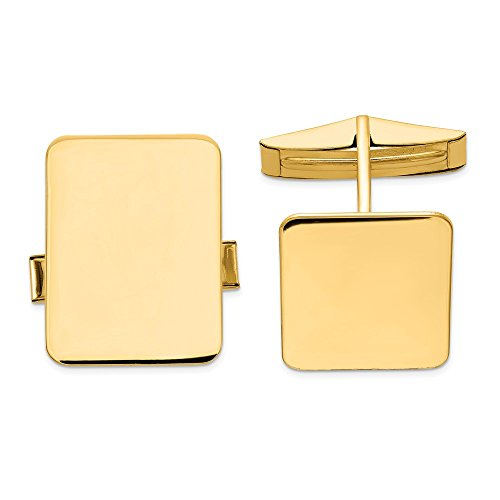 14K Yellow Gold Men's Accessory Cuff Links Solid 15 mm 19.5 mm Rectangular Cuff Links