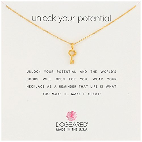Dogeared Reminders- Unlock Your Potential Gold Dipped Sterling Silver Simple Key Charm Necklace, 16