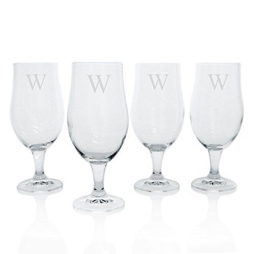 Cathy's Concepts Personalized Elegant Pilsner Glasses, Set of 4, Letter W