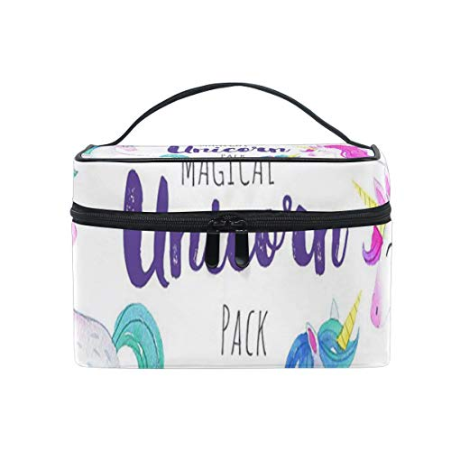 - Travel Cosmetic Bag Magical Unicorns Watercolor Pack Toiletry Makeup Bag Pouch Tote Case Organizer Storage For Women Girls