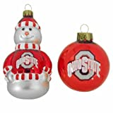 NCAA Ohio State Buckeyes Snowman and Ball Mini Blown Glass Ornaments