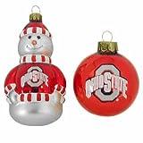 NCAA Ohio State Buckeyes Snowman and Ball Mini Blown Glass Ornaments