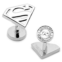 DC Comics Silver Plated Superman Shield Cufflinks
