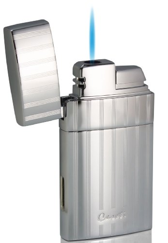 Visol Caseti Troy Polished Chrome Single Torch Flame Cigar Lighter