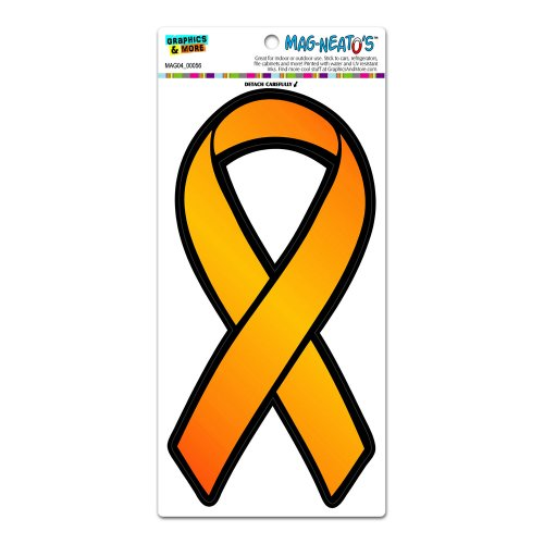 Orange Awareness Support Ribbon - Leukemia Multiple Sclerosis MAG-NEATO'S(TM) Automotive Car Refrigerator Locker Vinyl ()