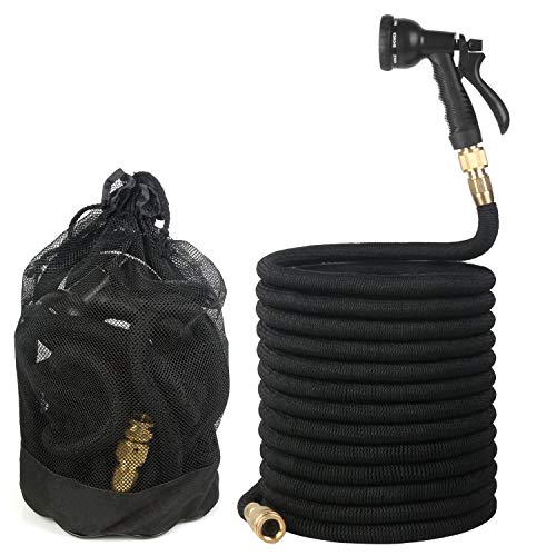 Expandable Garden Hose, Flexible Water Hose with Triple Layered Latex Core, 3/4″ Solid Brass Fittings, Lightweight Expanding Hose with 8 Patterns Spray Nozzle, Free Storage Bag (25 FT)