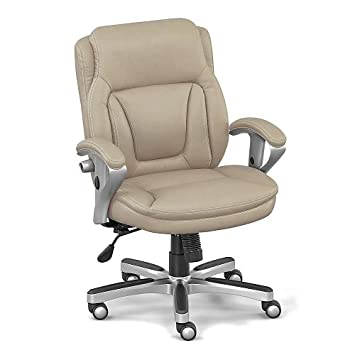 Taupe Faux Leather Petite Low Height Computer Chair – NBF Signature Series Status Collection