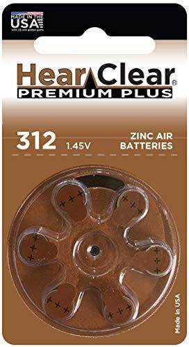 HearClear Hearing Aid Batteries Size 312 , PR41 (60 Batteries) (Hearclear Batteries Hearing Aid)
