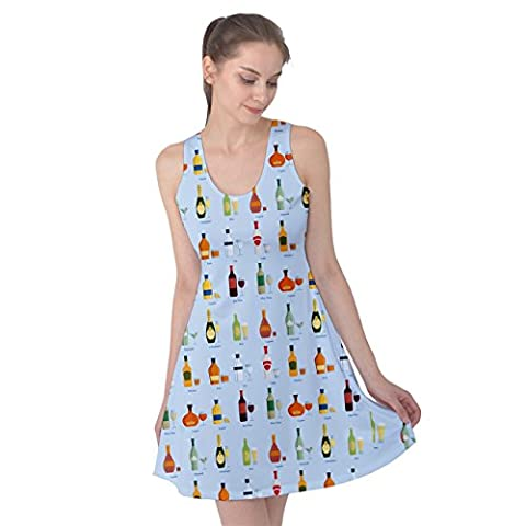 PattyPattern Womens Beverage Collection Drinking Pattern Reversible Sleeveless Dress (L, Light - Plastic Lily Tub