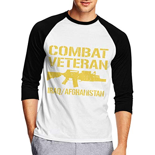 Mens Long Sleeve T Shirts, Combat Veteran Iraq and Afghanistan Long Sleeve Tee Classic Casual Jersey Black