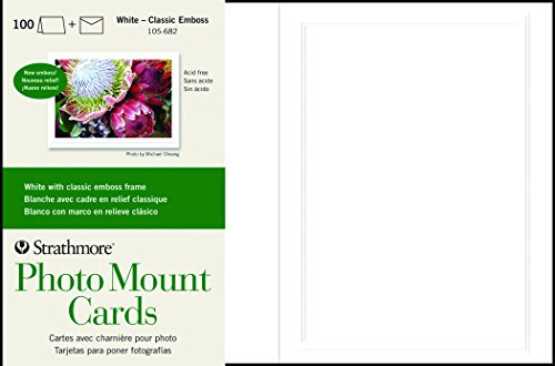 Strathmore 105-682 Photo Mount Cards, White Classic Embossed Border, 100 Cards & Envelopes