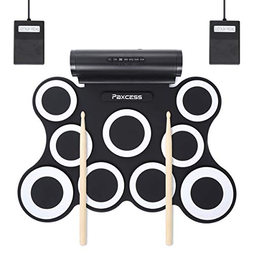 PAXCESS Electronic Drum Set, 9 Pads Electric Drum Set with Headphone Jack, Built in Speaker and Battery, Drum Stick, Foot Pedals, Best Gift for Christmas Holiday Birthday (Renewed)