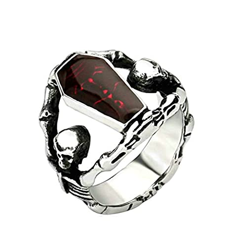 Xiangling Jewelry Stainless Steel Vampire Coffin Skull Rings For Women, Size 12 (Sterling Silver Coffin Ring)
