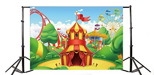 (Yeele Child Baby Funfair Park Theme 10x8ft Photo Backdrops Vinyl Cartoon Ferris Wheel Circus Roller Coaster Photography Background For Baby Newborn Birthday Party Photo Video Shoot Studio Props)