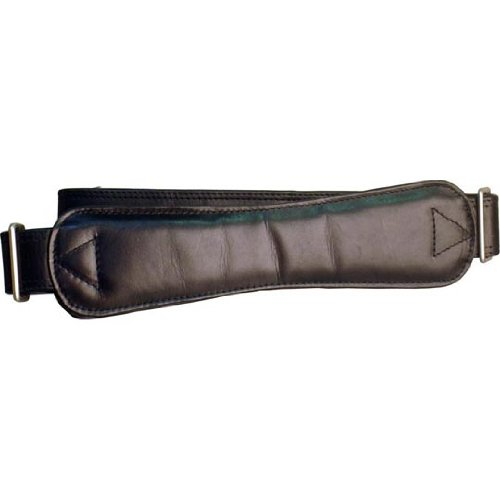 Extra-Long Ergonomic Leather Shoulder Strap Color: Black with Matte Silver Hardware (Harness Leather Winn)