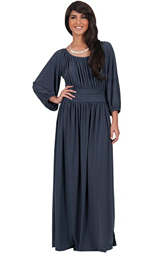 KOH KOH Women Long Sleeve Sleeves Vintage Peasant Empire Waist Fall Loose Flowy Fall Winter Casual Maternity Abaya Gown Gowns Maxi Dress Dresses, Slate Gray M 8-10 (1)