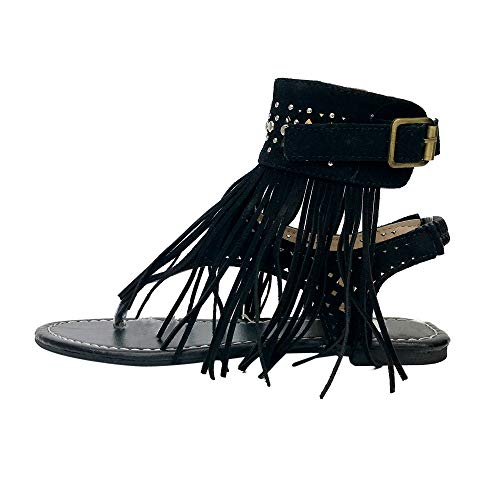 - Corriee Womens Beaded Studded Fringe Flat Gladiator Sandals Girls Summer Flip Flops Beach Shoes Black
