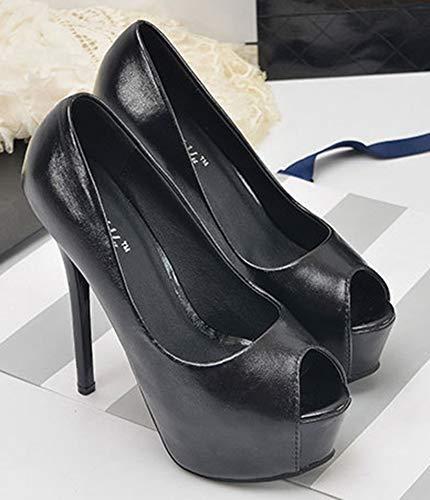 Stiletto Orteil Femme Ouvert Bout Haut Talon Sandale Aisun Mode Bal Fiancée Noir IHTwqI0