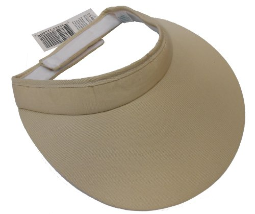 Extra Wide Brim Cloth Visor w/ Velcro Closure (Beige) (Brim Visor Large)