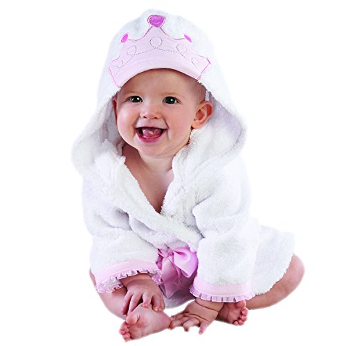 Baby Aspen Little Princess Hooded Spa Robe, Pink/White