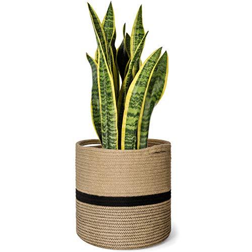 Mkono Jute Rope Plant Basket Modern Floor Indoor Planter for Up to 11