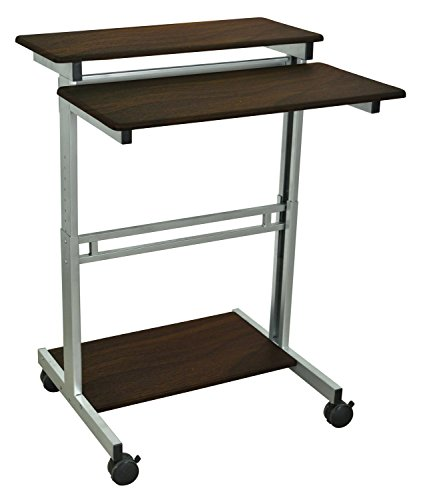Luxor Mobile Stand-Up Computer Workstation With Silver Gray Frame And Dark Walnut Laminated Shelves electronic -