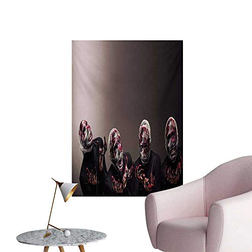 Price comparison product image Anzhutwelve Wizard Corridor / Indoor / Living Room Bloody Faces with Bandage of Screaming Zombie Looks Scary Spooky Dark Art PatternBlack W32 xL48 Wall Poster